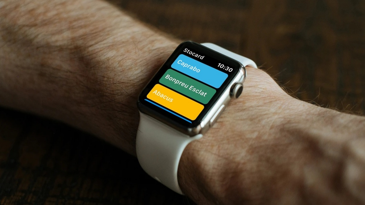 L'aplicació Stocard en un Apple Watch.